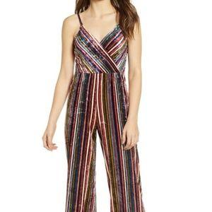 HIATUS Stripe Velvet Jumpsuit